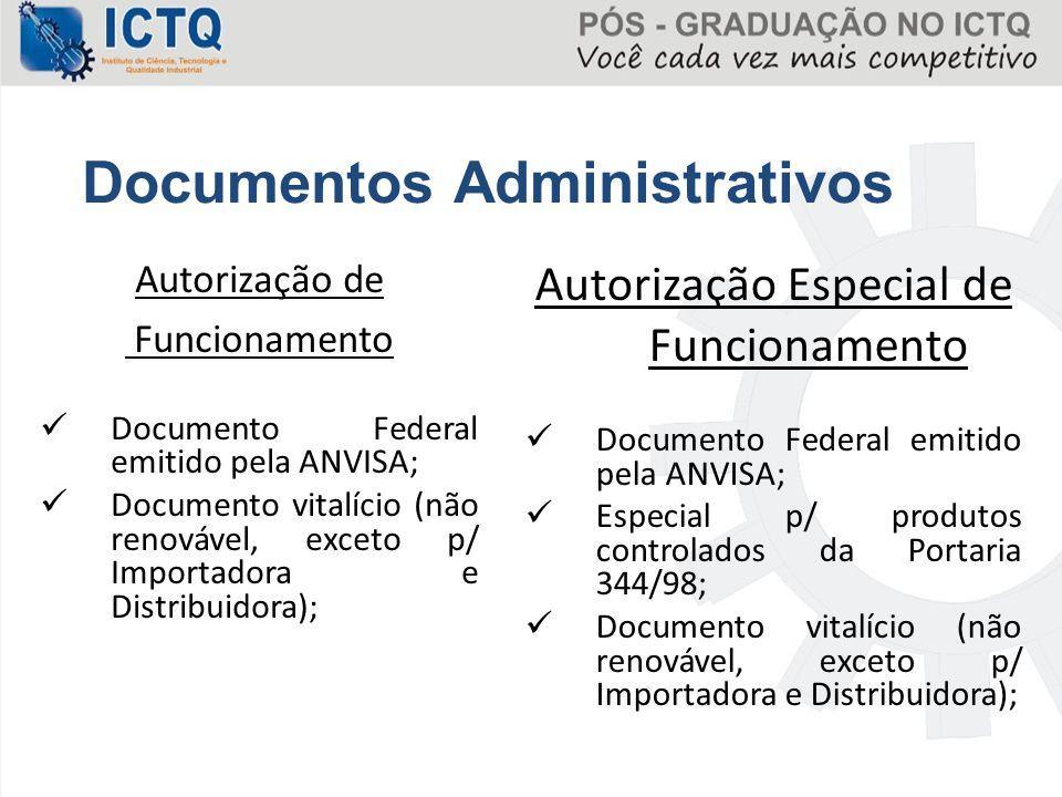Autorização de Funcionamento Documento Federal emitido pela ANVISA; Documento vitalício (não renovável, exceto p/ Importadora e Distribuidora); Autori