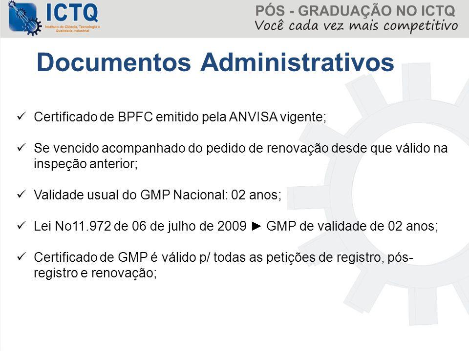 Certificado de BPFC emitido pela ANVISA vigente; Se vencido acompanhado do pedido de renovação desde que válido na inspeção anterior; Validade usual d
