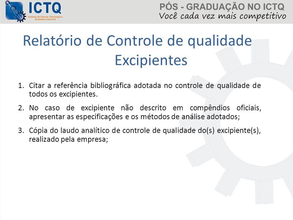 Relatório de Controle de qualidade Excipientes 1.Citar a referência bibliográfica adotada no controle de qualidade de todos os excipientes. 2.No caso