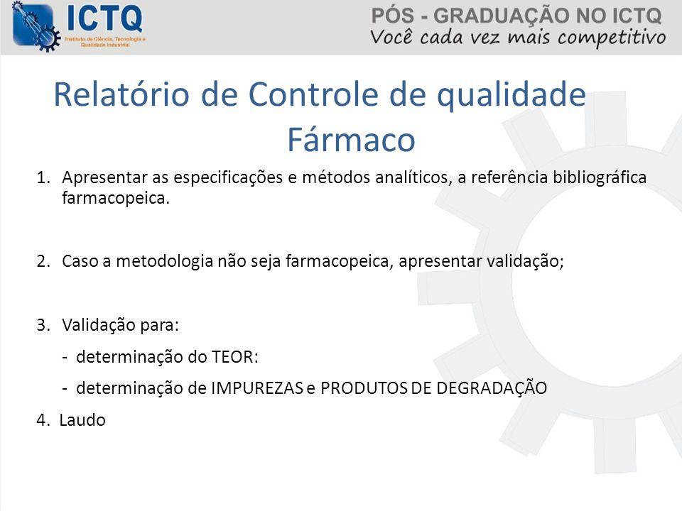 Relatório de Controle de qualidade Fármaco 1.Apresentar as especificações e métodos analíticos, a referência bibliográfica farmacopeica. 2.Caso a meto