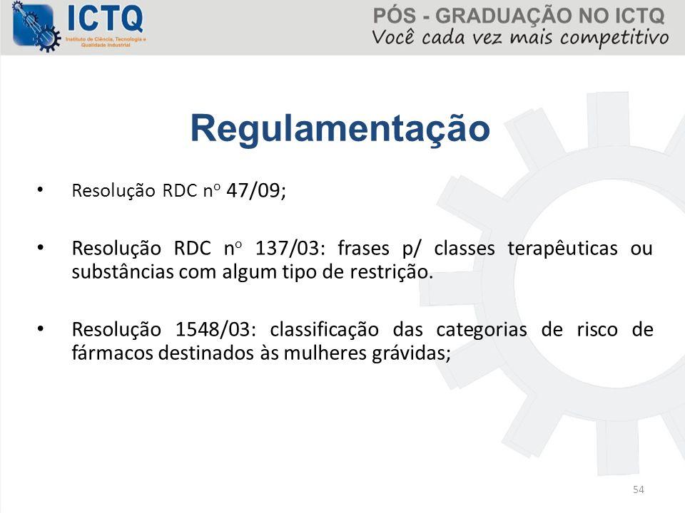 Resolução RDC n o 47/09; Resolução RDC n o 137/03: frases p/ classes terapêuticas ou substâncias com algum tipo de restrição. Resolução 1548/03: class
