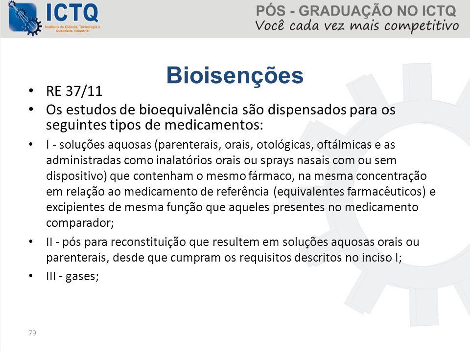 Bioisenções RE 37/11 Os estudos de bioequivalência são dispensados para os seguintes tipos de medicamentos: I - soluções aquosas (parenterais, orais,