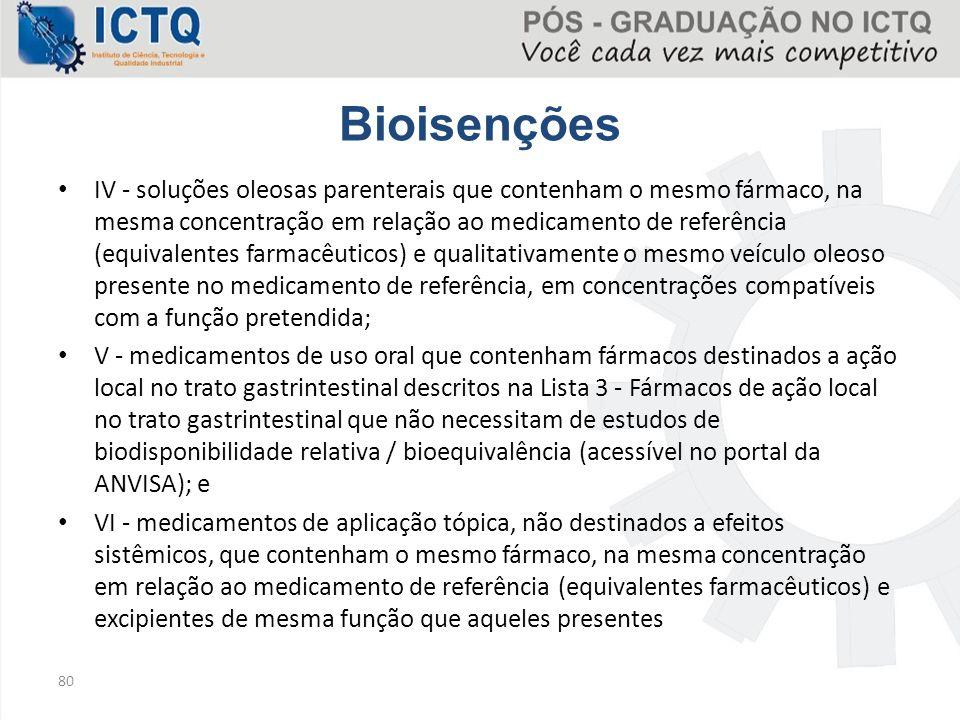 Bioisenções IV - soluções oleosas parenterais que contenham o mesmo fármaco, na mesma concentração em relação ao medicamento de referência (equivalent