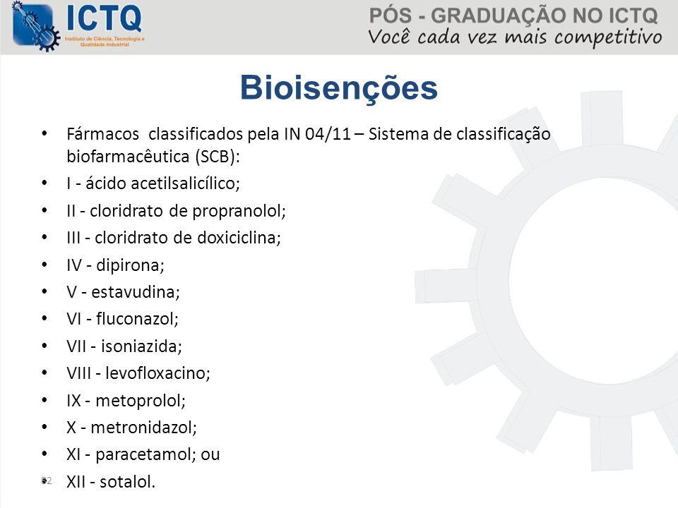 Bioisenções Fármacos classificados pela IN 04/11 – Sistema de classificação biofarmacêutica (SCB): I - ácido acetilsalicílico; II - cloridrato de prop