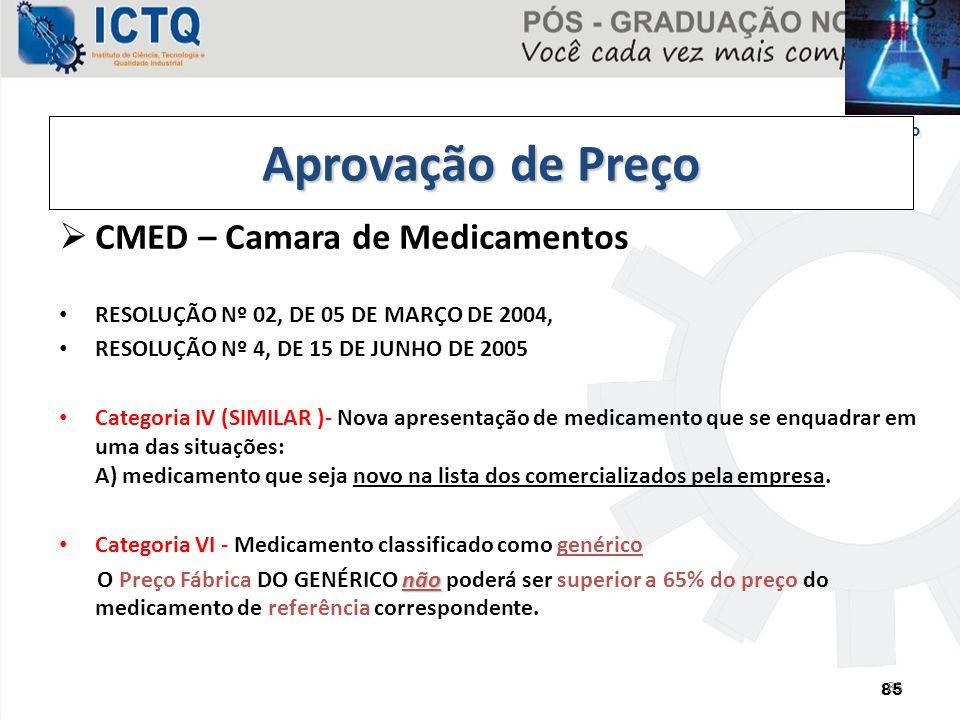 85 Etapa 03 - Pós-Registro 85  CMED – Camara de Medicamentos RESOLUÇÃO Nº 02, DE 05 DE MARÇO DE 2004, RESOLUÇÃO Nº 4, DE 15 DE JUNHO DE 2005 Categori