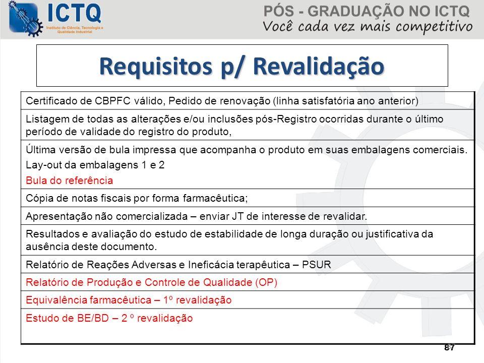 Requisitos p/ Revalidação Certificado de CBPFC válido, Pedido de renovação (linha satisfatória ano anterior) Listagem de todas as alterações e/ou incl