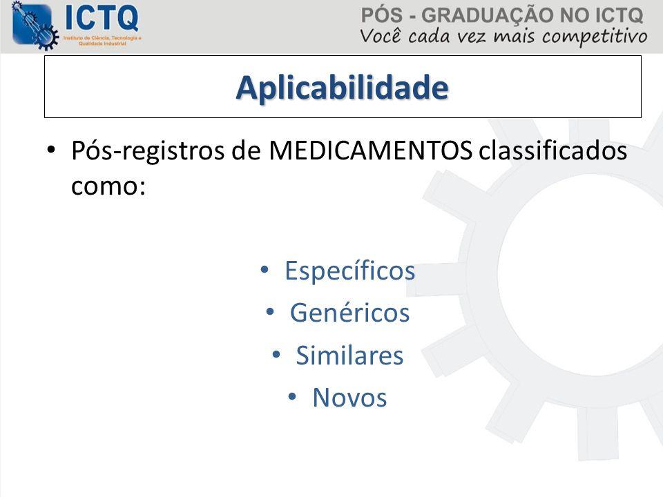 Aplicabilidade Pós-registros de MEDICAMENTOS classificados como: Específicos Genéricos Similares Novos
