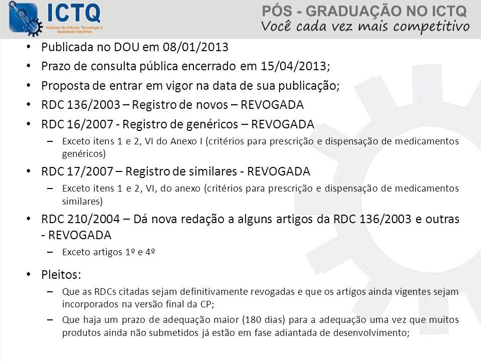 Publicada no DOU em 08/01/2013 Prazo de consulta pública encerrado em 15/04/2013; Proposta de entrar em vigor na data de sua publicação; RDC 136/2003