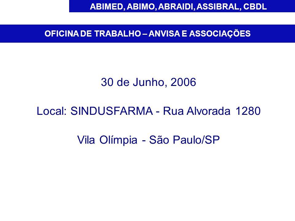 ABIMED, ABIMO, ABRAIDI, ASSIBRAL, CBDL 30 de Junho, 2006 Local: SINDUSFARMA - Rua Alvorada 1280 Vila Olímpia - São Paulo/SP OFICINA DE TRABALHO – ANVISA E ASSOCIAÇÕES