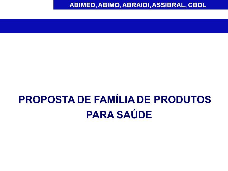 ABIMED, ABIMO, ABRAIDI, ASSIBRAL, CBDL Os produtos para que possam ser agrupados em família devem ser do mesmo fabricante legal, pertencer a mesma classe de risco e atender aos critérios gerais estabelecidos: A) Material de fabricação (matéria-prima) B) Indicação de Uso C) Mecanismo de ação D) Utilização (uso único/reutilizável) E) Esterilidade (estéril/não estéril) NOTA: Diferentes dimensões (comprimento, diâmetro e/ou volume) e quantidades são apresentações e não modelos de produtos.
