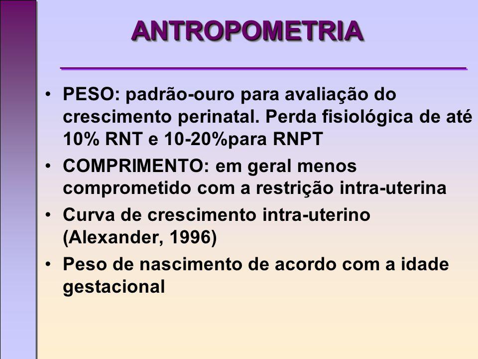 ANTROPOMETRIAANTROPOMETRIA PESO: padrão-ouro para avaliação do crescimento perinatal.