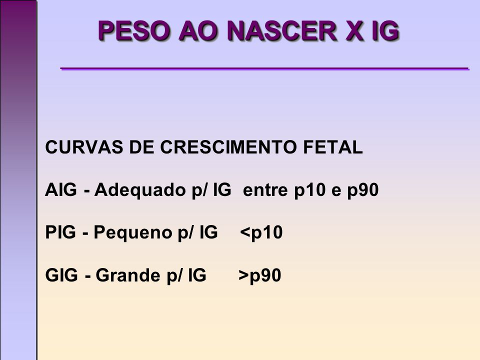 PESO AO NASCER X IG CURVAS DE CRESCIMENTO FETAL AIG - Adequado p/ IG entre p10 e p90 PIG - Pequeno p/ IG <p10 GIG - Grande p/ IG >p90