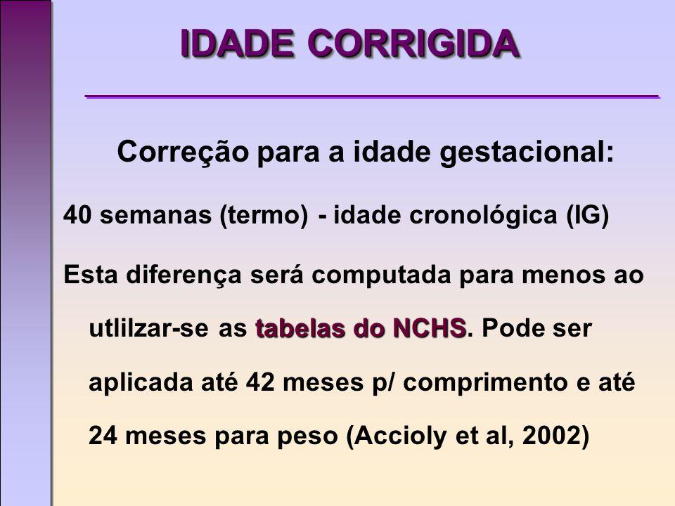 IDADE CORRIGIDA Correção para a idade gestacional: 40 semanas (termo) - idade cronológica (IG) tabelas do NCHS Esta diferença será computada para menos ao utlilzar-se as tabelas do NCHS.