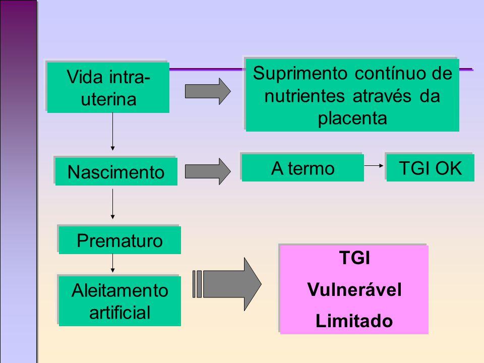 Vida intra- uterina Suprimento contínuo de nutrientes através da placenta Nascimento A termo Prematuro Aleitamento artificial TGI OK TGI Vulnerável Limitado