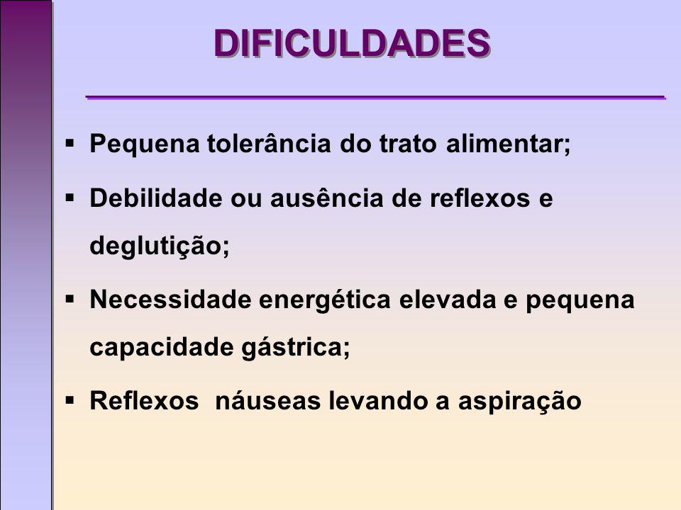 DIFICULDADES  Pequena tolerância do trato alimentar;  Debilidade ou ausência de reflexos e deglutição;  Necessidade energética elevada e pequena capacidade gástrica;  Reflexos náuseas levando a aspiração