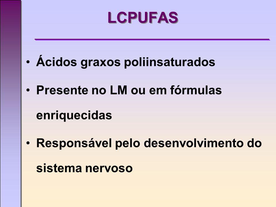 LCPUFAS Ácidos graxos poliinsaturados Presente no LM ou em fórmulas enriquecidas Responsável pelo desenvolvimento do sistema nervoso