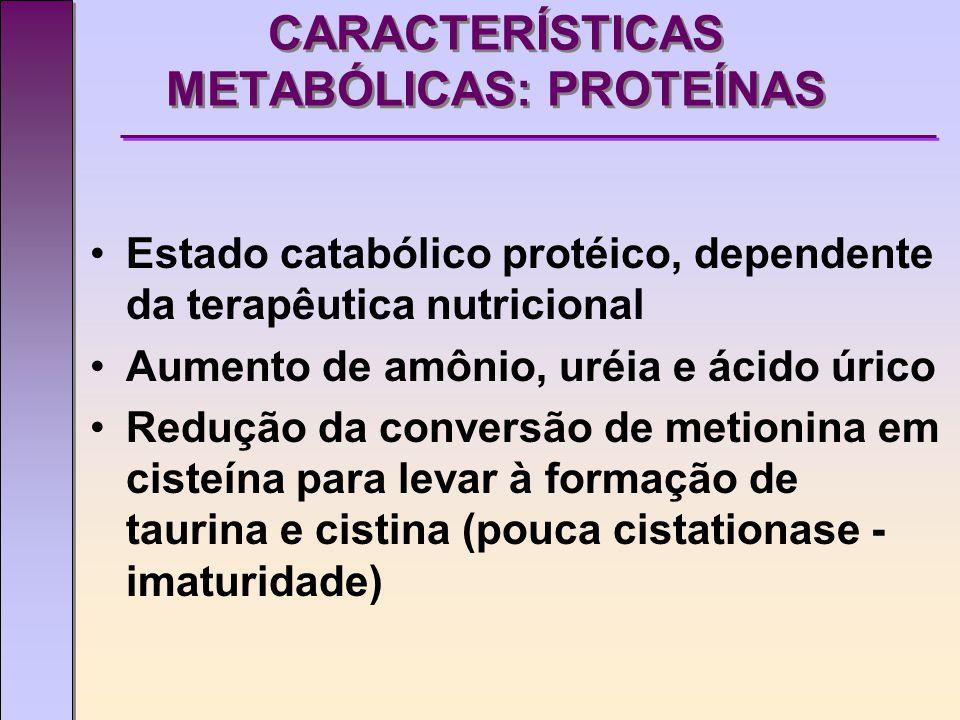 CARACTERÍSTICAS METABÓLICAS:LIPÍDIOS Acentuada capacidade de lipólise Dificuldade de elongar o ácido linolênico w3 em EPA e DHA Deficiência do sistema carnitina acil- transferase Utlilzar TCM na terapia nutricional