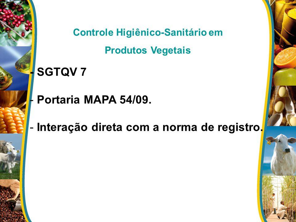 Controle Higiênico-Sanitário em Produtos Vegetais - SGTQV 7 - Portaria MAPA 54/09. - Interação direta com a norma de registro.