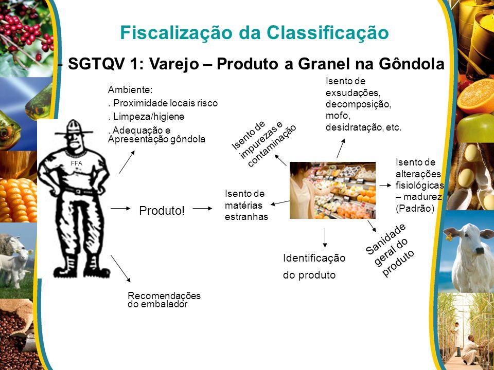 Fiscalização da Classificação - SGTQV 1: Varejo – Produto a Granel na Gôndola FFA Ambiente:. Proximidade locais risco. Limpeza/higiene. Adequação e Ap