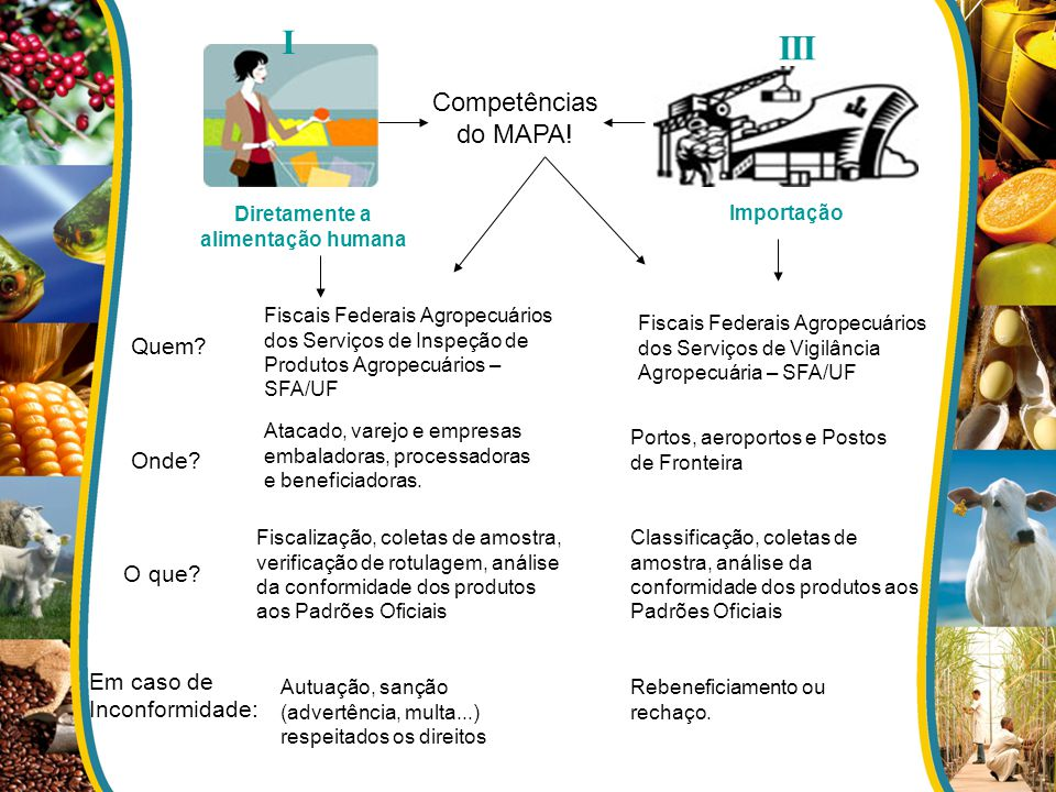 I III Diretamente a alimentação humana Importação Competências do MAPA! Quem? Fiscais Federais Agropecuários dos Serviços de Inspeção de Produtos Agro