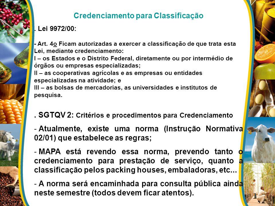 Credenciamento para Classificação. Lei 9972/00: - Art. 4o Ficam autorizadas a exercer a classificação de que trata esta Lei, mediante credenciamento: