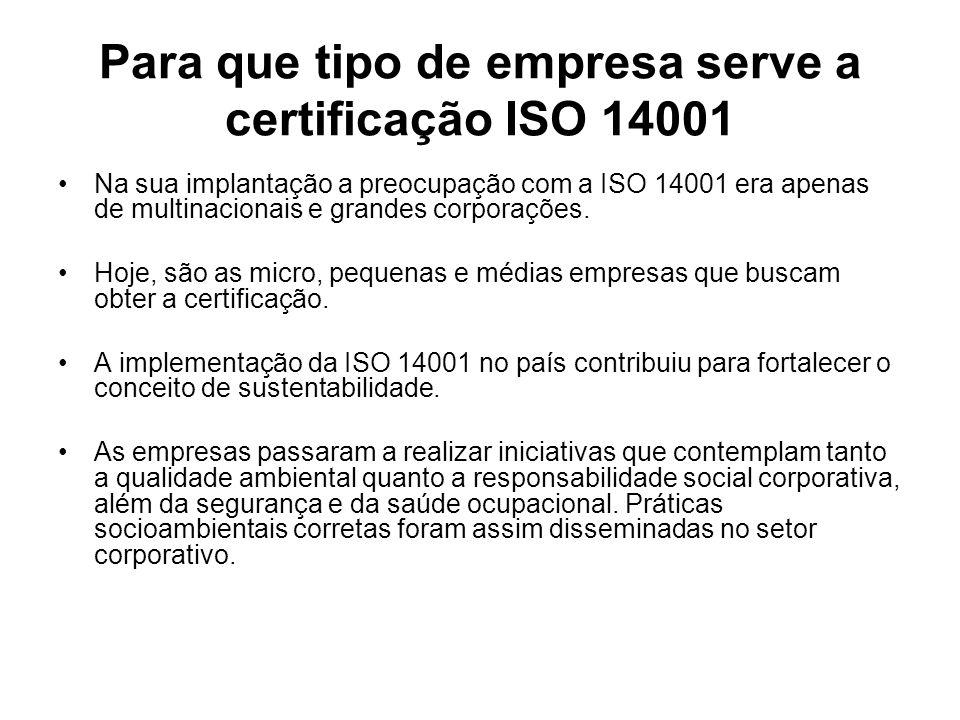 Para que tipo de empresa serve a certificação ISO 14001 Na sua implantação a preocupação com a ISO 14001 era apenas de multinacionais e grandes corpor