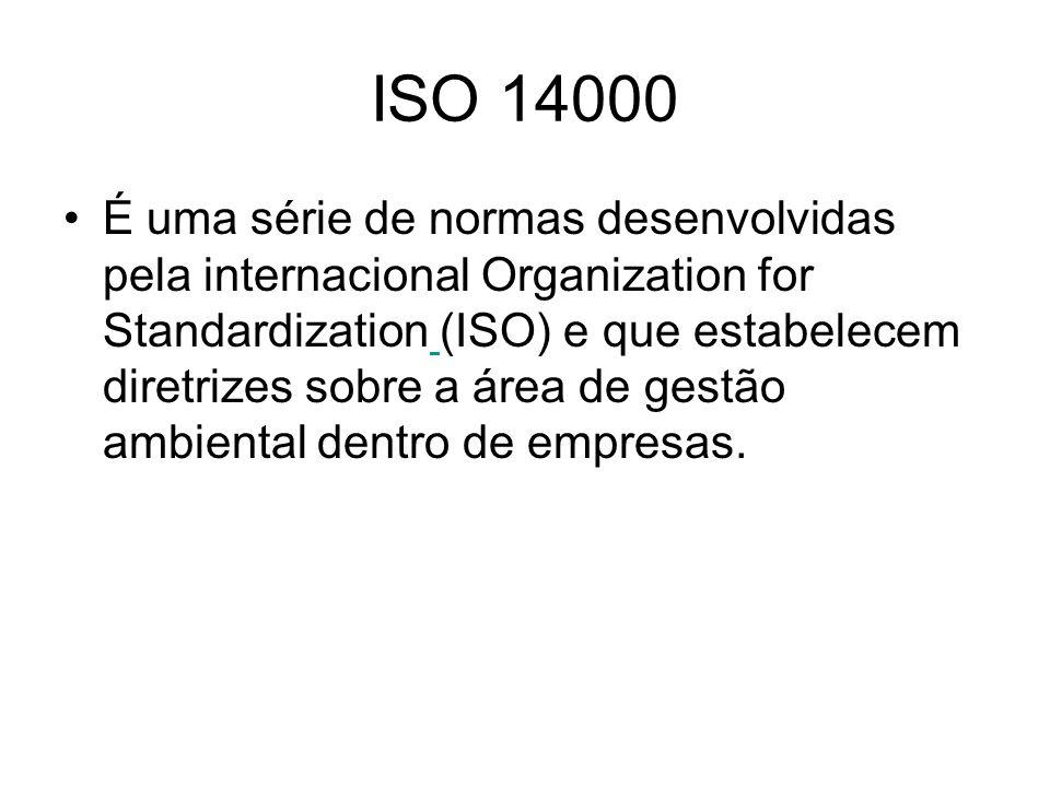 ISO 14000 É uma série de normas desenvolvidas pela internacional Organization for Standardization (ISO) e que estabelecem diretrizes sobre a área de g