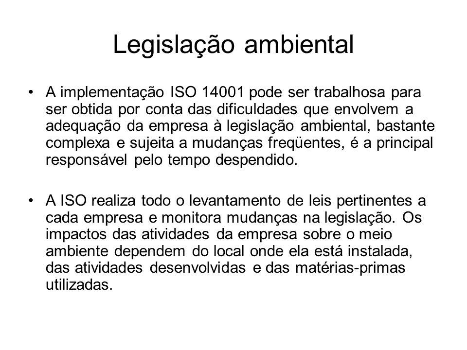 Legislação ambiental A implementação ISO 14001 pode ser trabalhosa para ser obtida por conta das dificuldades que envolvem a adequação da empresa à le