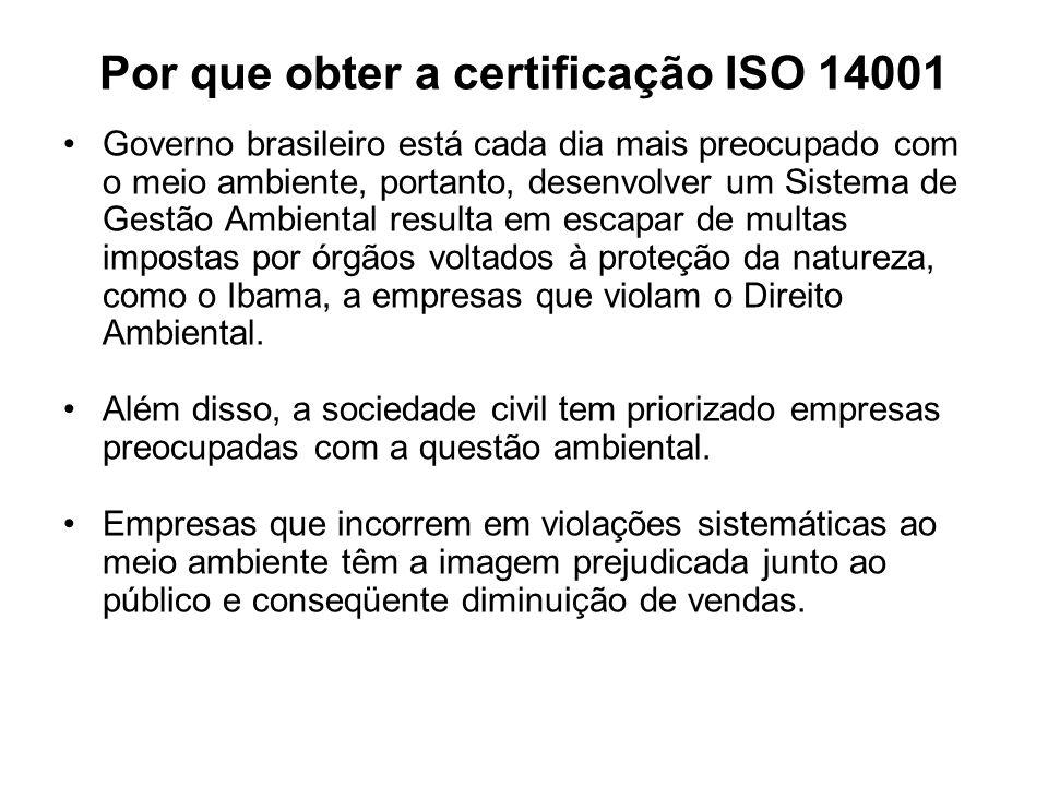 Por que obter a certificação ISO 14001 Governo brasileiro está cada dia mais preocupado com o meio ambiente, portanto, desenvolver um Sistema de Gestã