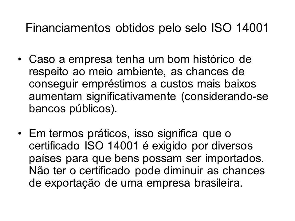 Financiamentos obtidos pelo selo ISO 14001 Caso a empresa tenha um bom histórico de respeito ao meio ambiente, as chances de conseguir empréstimos a c