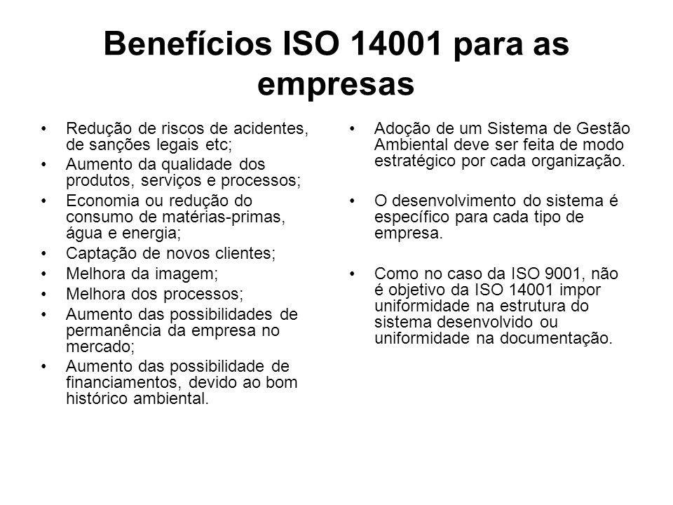 Benefícios ISO 14001 para as empresas Redução de riscos de acidentes, de sanções legais etc; Aumento da qualidade dos produtos, serviços e processos;
