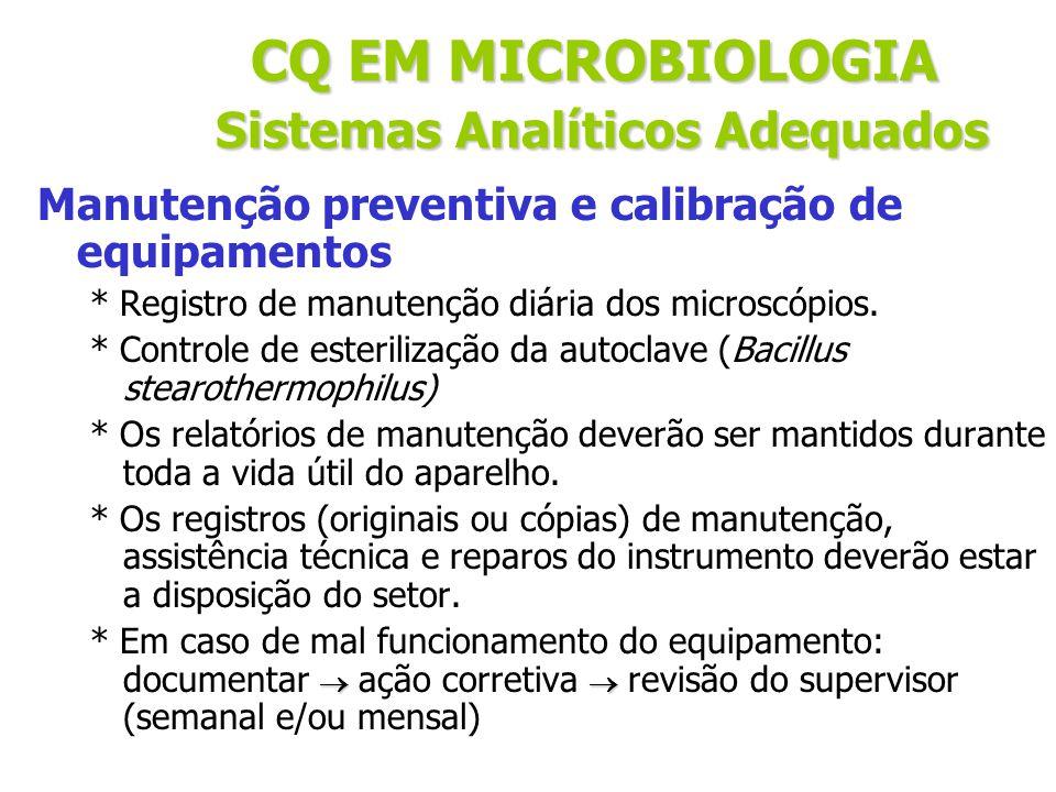 Manutenção preventiva e calibração de equipamentos Exemplo de formulários e limites de tolerância * Geladeira: 2 a 8ºC * Estufa bacteriológica : 35 +/- 2ºC (na maioria) * Banho-maria: +/- 1ºC * Centrífuga * Incinerador * Calibração de pipetas * Condicionador de ar * Temperatura ambiente CQ EM MICROBIOLOGIA Sistemas Analíticos Adequados