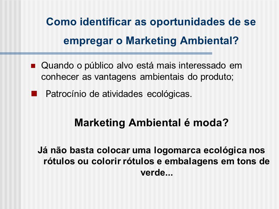 Como identificar as oportunidades de se empregar o Marketing Ambiental.