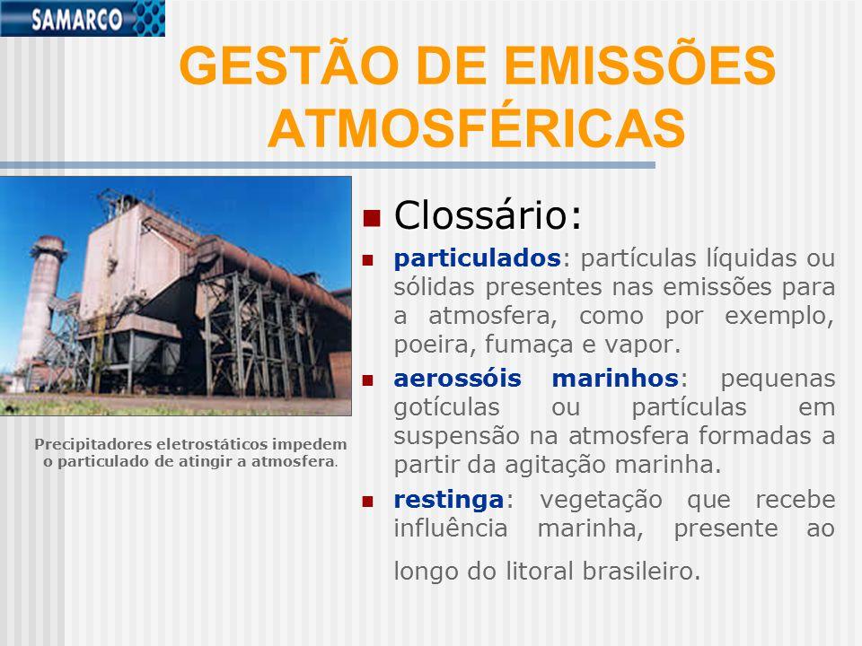 GESTÃO DE EMISSÕES ATMOSFÉRICAS Clossário: Clossário: particulados: partículas líquidas ou sólidas presentes nas emissões para a atmosfera, como por exemplo, poeira, fumaça e vapor.