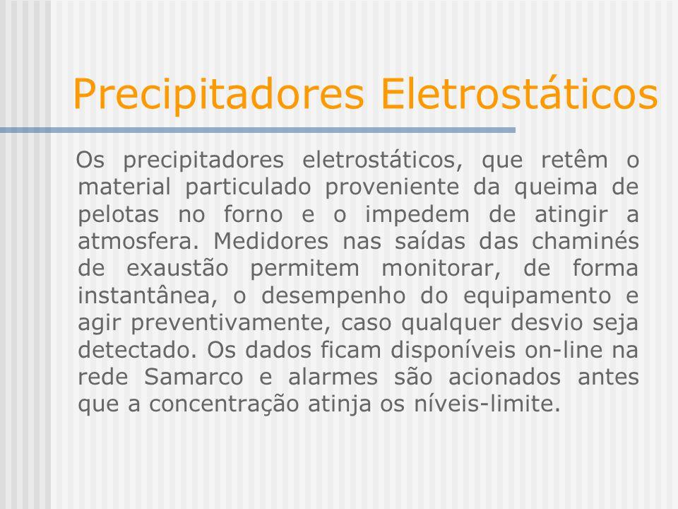 Precipitadores Eletrostáticos Os precipitadores eletrostáticos, que retêm o material particulado proveniente da queima de pelotas no forno e o impedem de atingir a atmosfera.