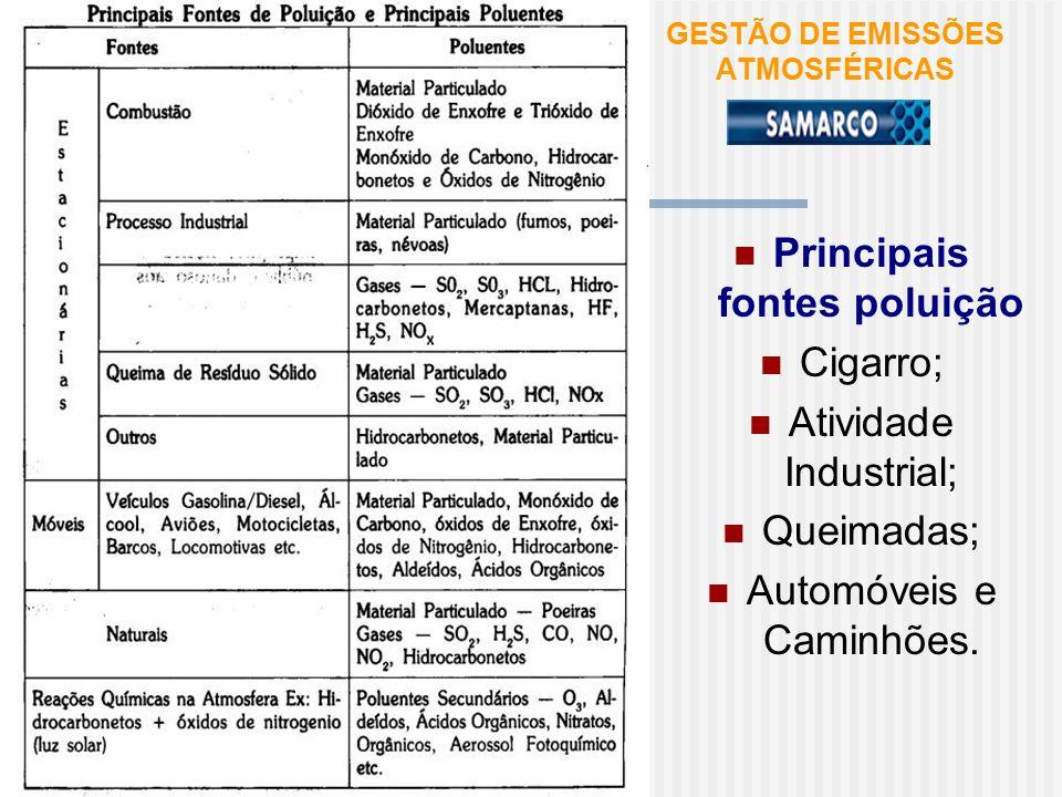 GESTÃO DE EMISSÕES ATMOSFÉRICAS Principais fontes poluição Cigarro; Atividade Industrial; Queimadas; Automóveis e Caminhões.