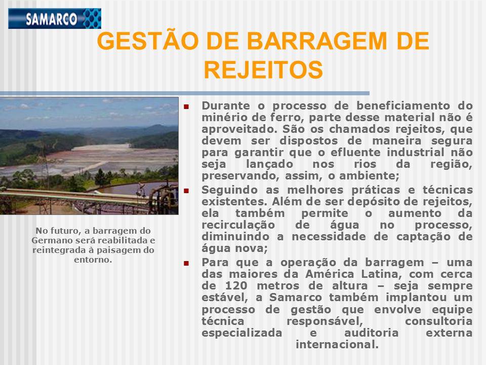 GESTÃO DE BARRAGEM DE REJEITOS Durante o processo de beneficiamento do minério de ferro, parte desse material não é aproveitado.