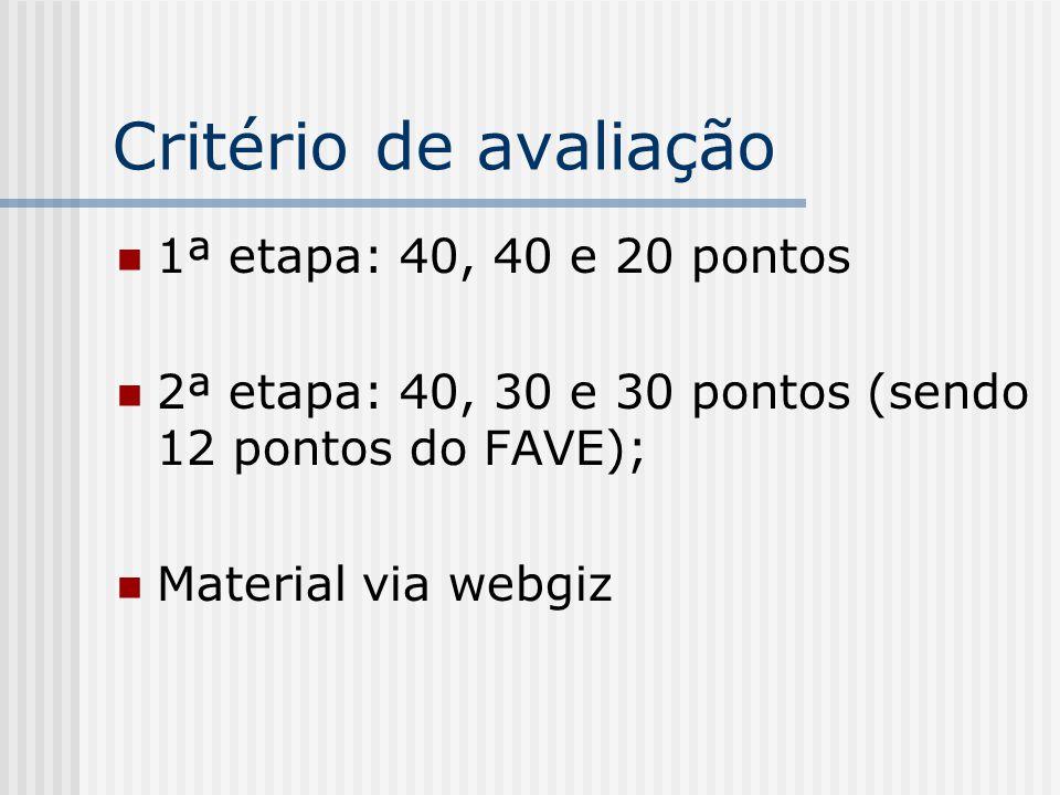 Critério de avaliação 1ª etapa: 40, 40 e 20 pontos 2ª etapa: 40, 30 e 30 pontos (sendo 12 pontos do FAVE); Material via webgiz
