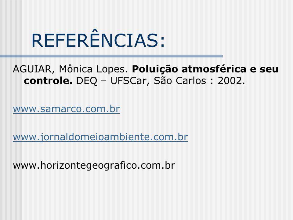 REFERÊNCIAS: AGUIAR, Mônica Lopes.Poluição atmosférica e seu controle.