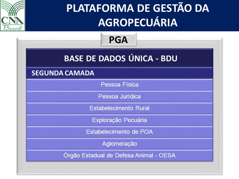 PLATAFORMA DE GESTÃO DA AGROPECUÁRIA PGA BASE DE DADOS ÚNICA - BDU SEGUNDA CAMADA Pessoa Física Pessoa Jurídica Estabelecimento Rural Exploração Pecuá