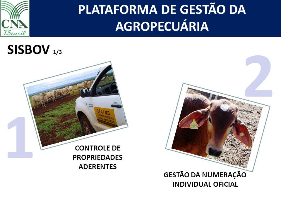 PLATAFORMA DE GESTÃO DA AGROPECUÁRIA CONTROLE DE PROPRIEDADES ADERENTES 1 GESTÃO DA NUMERAÇÃO INDIVIDUAL OFICIAL SISBOV 1/3 2
