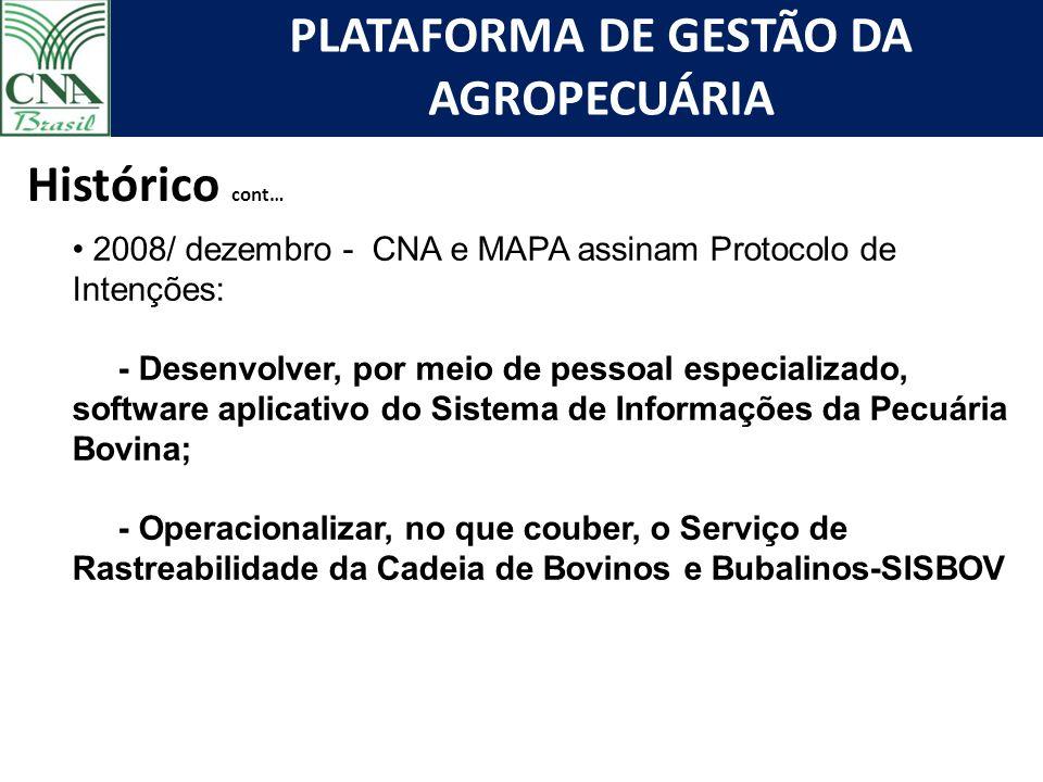 PLATAFORMA DE GESTÃO DA AGROPECUÁRIA Histórico cont… 2008/ dezembro - CNA e MAPA assinam Protocolo de Intenções: - Desenvolver, por meio de pessoal es