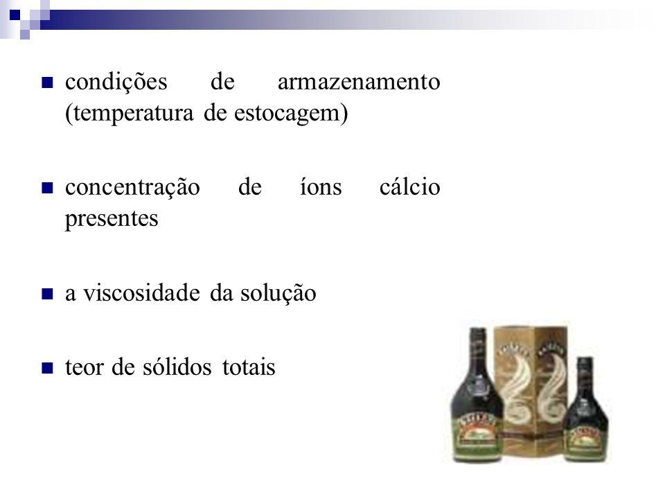 condições de armazenamento (temperatura de estocagem) concentração de íons cálcio presentes a viscosidade da solução teor de sólidos totais