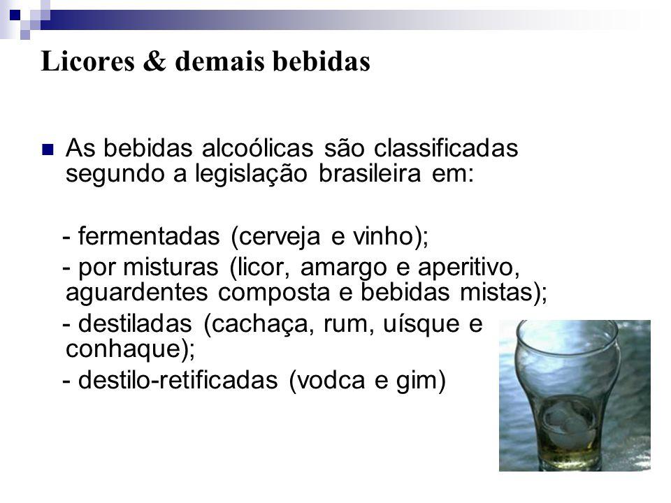 Licores & demais bebidas As bebidas alcoólicas são classificadas segundo a legislação brasileira em: - fermentadas (cerveja e vinho); - por misturas (licor, amargo e aperitivo, aguardentes composta e bebidas mistas); - destiladas (cachaça, rum, uísque e conhaque); - destilo-retificadas (vodca e gim) (AQUARONE et al., 1993; citado por PENHA, 2000).