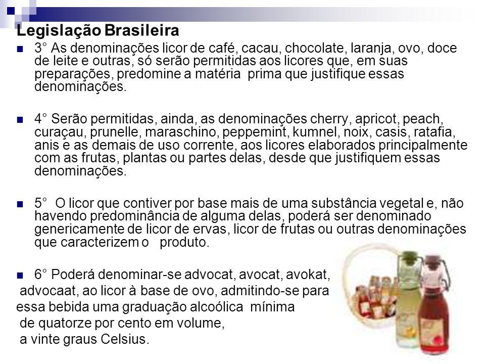 Legislação Brasileira 3° As denominações licor de café, cacau, chocolate, laranja, ovo, doce de leite e outras, só serão permitidas aos licores que, em suas preparações, predomine a matéria prima que justifique essas denominações.