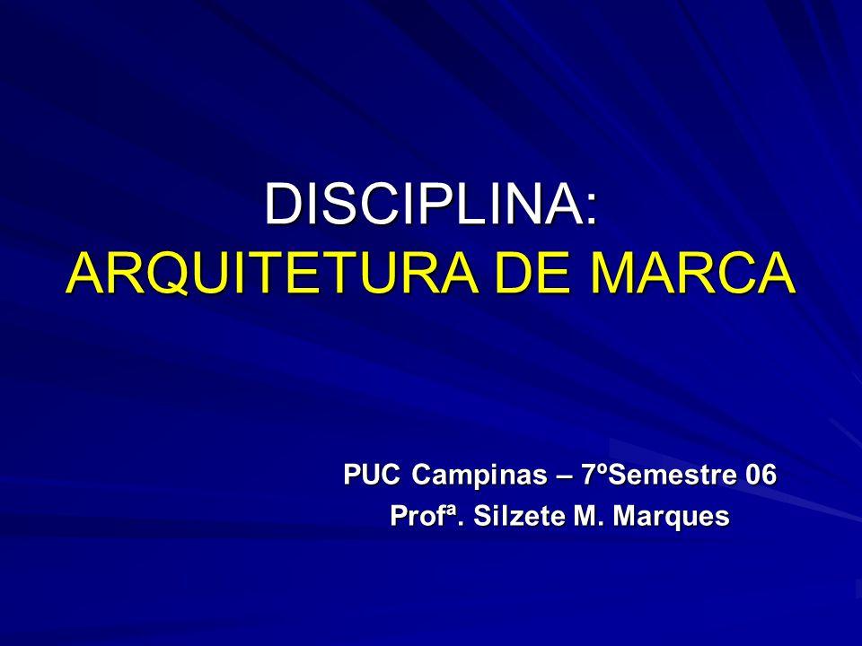 DISCIPLINA: ARQUITETURA DE MARCA PUC Campinas – 7ºSemestre 06 Profª. Silzete M. Marques