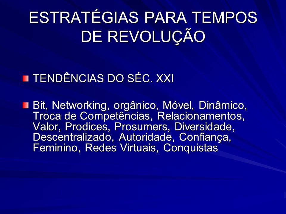 ESTRATÉGIAS PARA TEMPOS DE REVOLUÇÃO TENDÊNCIAS DO SÉC. XXI Bit, Networking, orgânico, Móvel, Dinâmico, Troca de Competências, Relacionamentos, Valor,