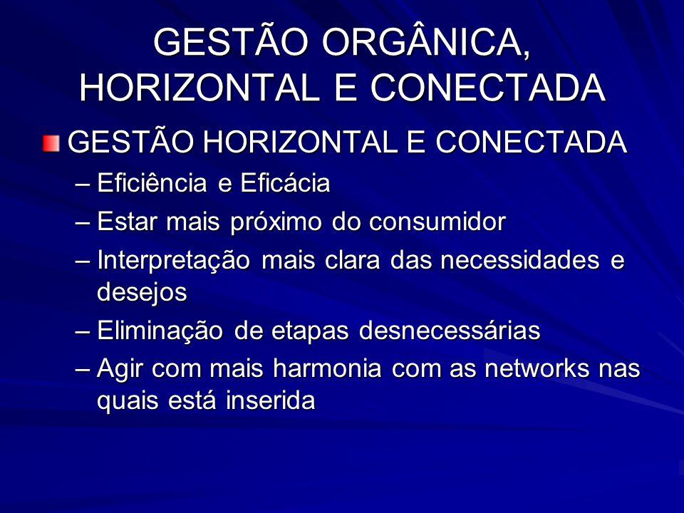 GESTÃO ORGÂNICA, HORIZONTAL E CONECTADA GESTÃO HORIZONTAL E CONECTADA –Eficiência e Eficácia –Estar mais próximo do consumidor –Interpretação mais cla
