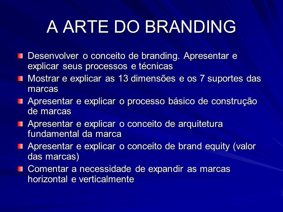 A ARTE DO BRANDING Desenvolver o conceito de branding. Apresentar e explicar seus processos e técnicas Mostrar e explicar as 13 dimensões e os 7 supor