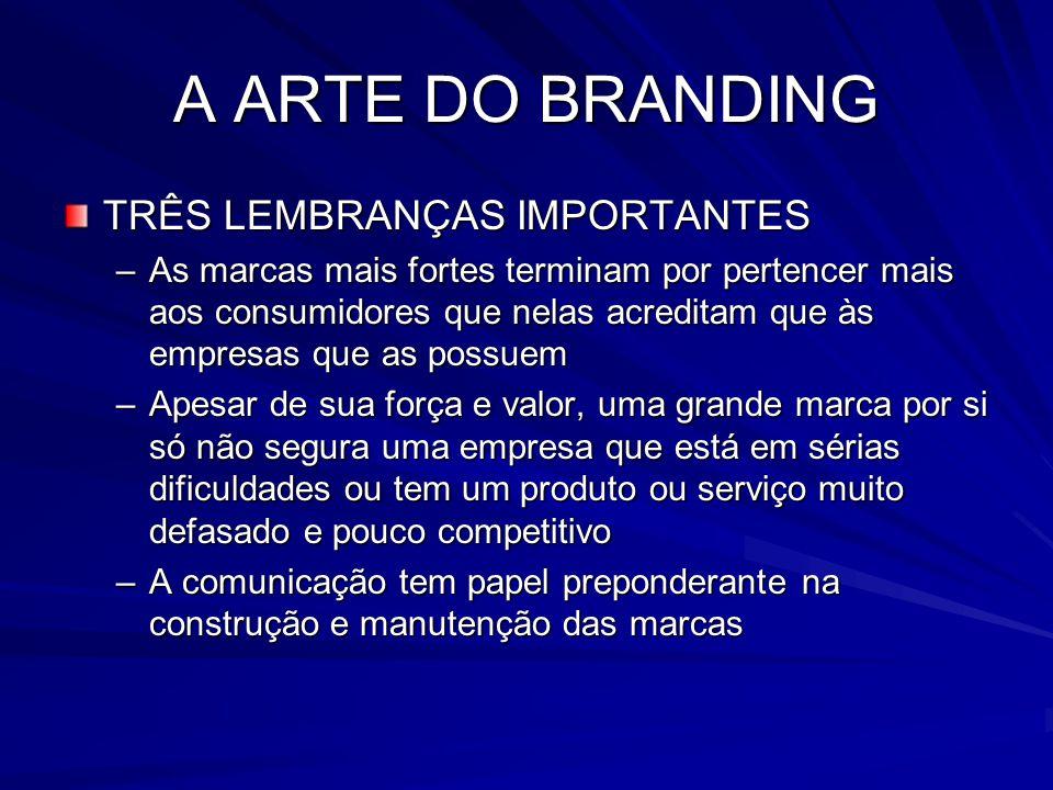 A ARTE DO BRANDING TRÊS LEMBRANÇAS IMPORTANTES –As marcas mais fortes terminam por pertencer mais aos consumidores que nelas acreditam que às empresas